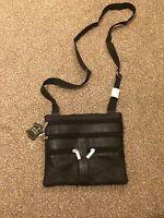 Men's Real Leather Pouch Cross Body Sling Bag Messenger Shoulder Bag Black 5 Zip