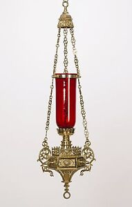 Great Image Is Loading Beautiful Gothic Hanging Sanctuary Lamp With Red Glass