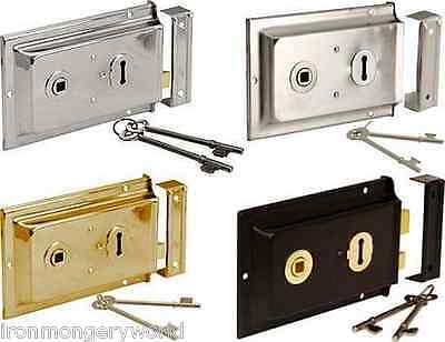 "Sterling Victorian Flanged Rim Lock Latch Black 6/"" X 4/"" Door Sashlock"