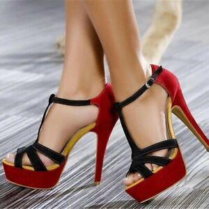 Womens-T-strap-High-Heels-Ankle-Buckle-Sandals-Peep-Toe-Platform-Stiletto-Shoes