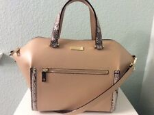 Kate Spade Savannah Satchel with Cross Body Strap in Tan with Snake Trim