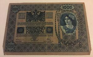 Austrian Banknote. 1000 Kronen. Dated 1919. Pick 59. Vintage Note.