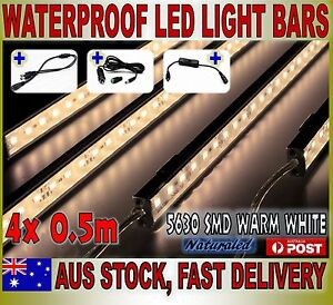 4X12V Waterproof Warm White 5630 Led Strip Lights Bars Camping Caravan Boat Cig