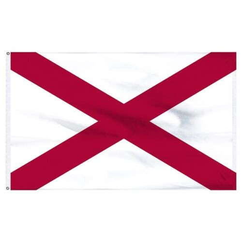Alabama State Flag 3x5 ft Printed Brass Grommets 150D Quality Polyester