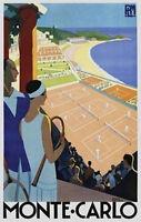 Monte Carlo - Vintage Travel Poster 24x36 - Tennis Monaco 36131