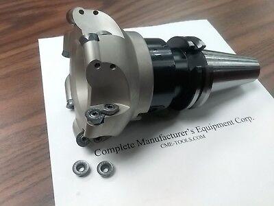 "2-1//2/"" face mill R200 4 Sandvik RCKT1204 Round inserts CAT40 arbor #506-R200"