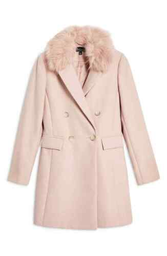 Ex Topshop Womens Naomi Faux Fur Collar Lapel Coat Luxury Jacket Winter Warm UK