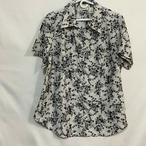 Kim Rogers Women White Floral Casual Short Sleeve Collared Button Up Shirt Sz 1X