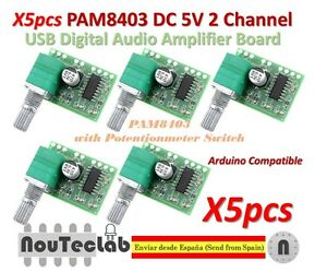 5pcs-PAM8403-5V-2-Channel-USB-Digital-Audio-Amplifier-with-Potentionmeter-Switch