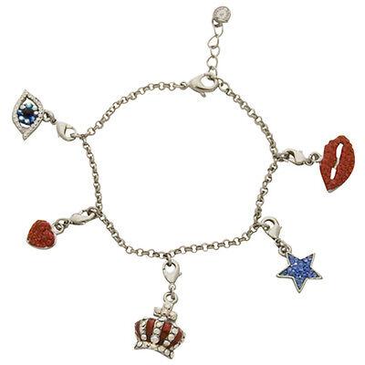 Butler and Wilson Crystal Lip Eye CrownStar Heart Charm Bracelet SilverTone SALE