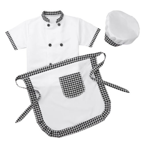 Apron+Hat Cosplay Party Set Unisex Boys Girl Chef Costume Uniform Outfit Jacket