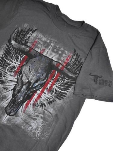 Wrangler Rock 47 Men/'s Gray Bull Rider Long Horn Short Sleeve Shirts MRCQ22M NWT
