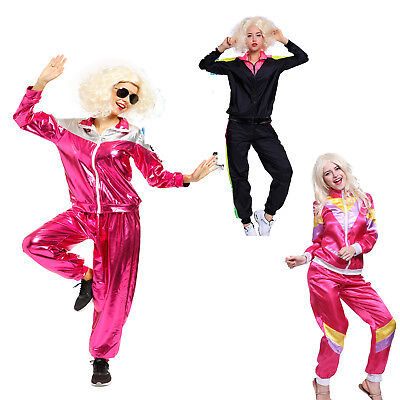 Women Retro Shell Suit Tracksuit Scouser Chav 80/'S Disco Fancy Dress Costume