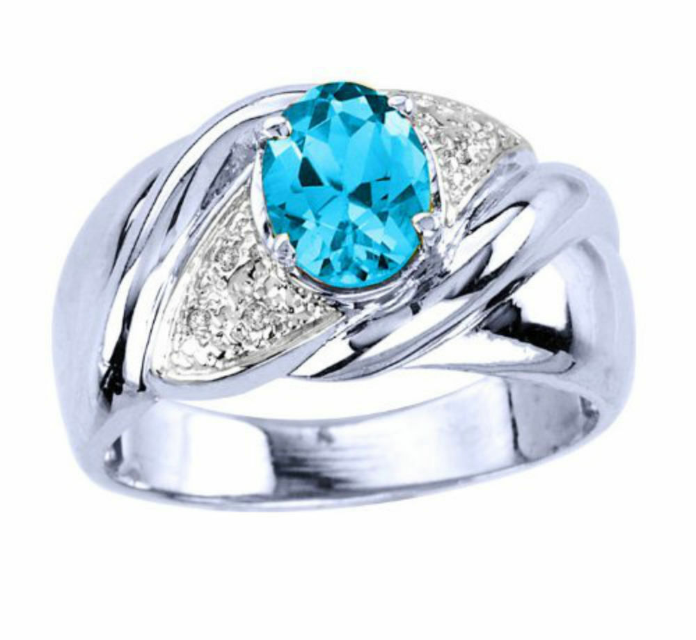 Genuine bluee Topaz & Diamond Ring 14K White gold