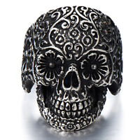 Gothic Stainless Steel Man's Biker Jewelry Sugar Skull Ring Oxidized Black