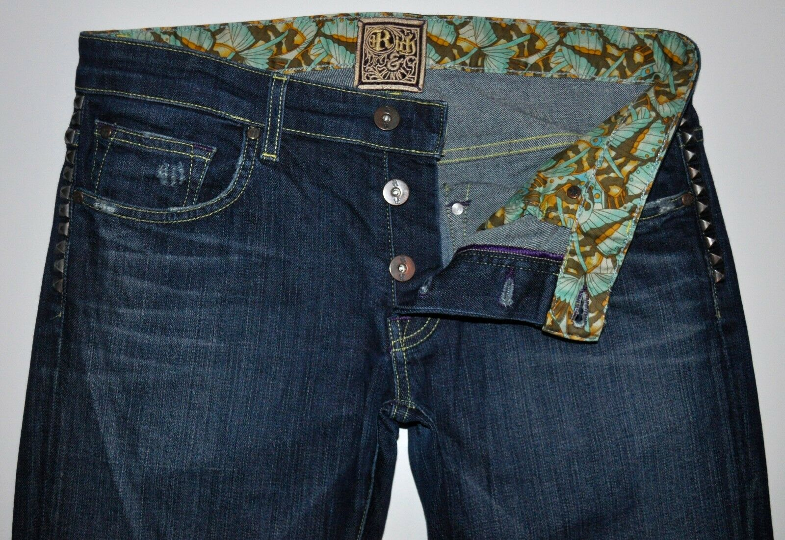 Rich & Skinny Super Studly Factory Dstressd Dark bluee Straight Leg Jeans 27 X 31