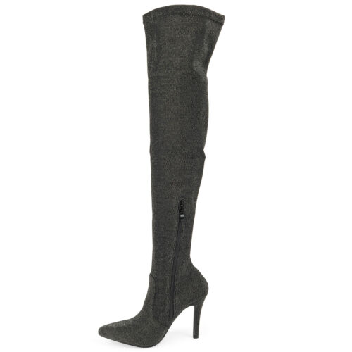 Women/'s Thigh High Pull On Elasticated Lycra High Heel Boots  Fashionable NEW !