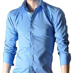 Camicie-da-uomo-a-maniche-lunghe-Casual-Formale-Slim-Fit-Camicia-Top-100-cotone-S-M-L-XL