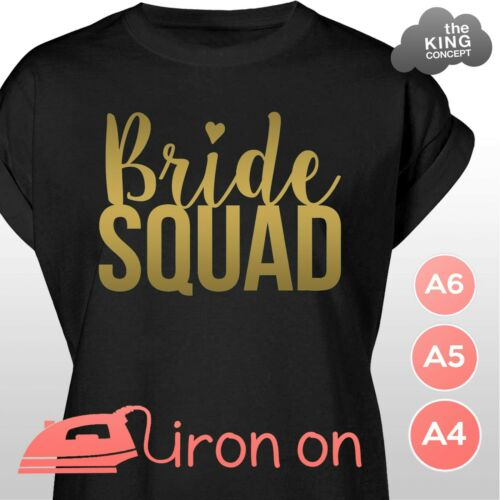 Bride Squad Iron On Vinyl Stickers for T-Shirts Tops Tees DIY Hen Night Party