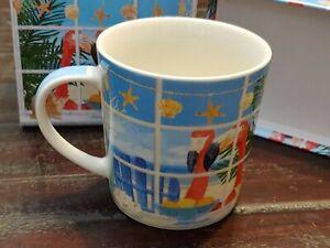 Paperproducts Design 28323 Gift Boxed Porcelain Mug, 13.5oz, Oceanview Flamingos