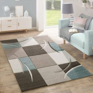 Image Is Loading Pastel Grey Blue Beige Checkered Rug For Living