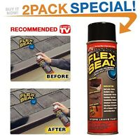 2 Pack Flex Seal 14oz Black Cans Rubber Spray Sealant Coating Stop Leaks Roof