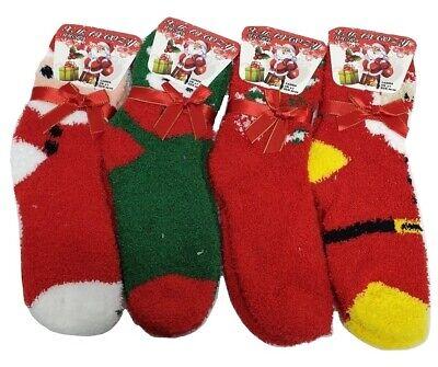 2 Pairs Ladies Fluffy Cosy Bed Lurex Socks Winter Warm Christmas Gift XMAS 4-7