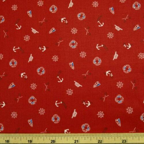 100/% Cotton Poplin Fabric John Louden Nautical Anchors Hats Paddles And Buoys