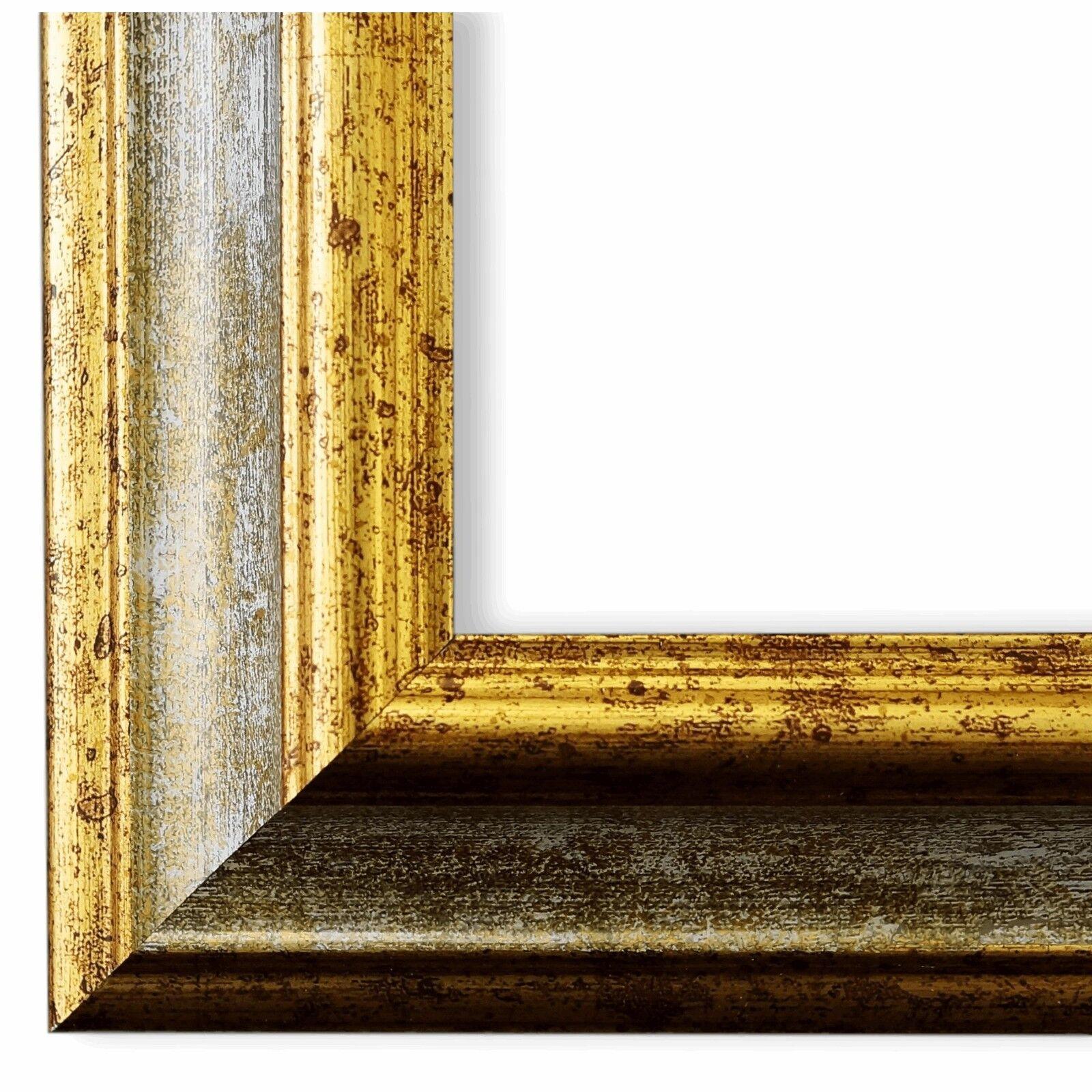 Bilderrahmen Grau Gold Antik Vintage Retro Bari 4,4 - NEU alle Größen