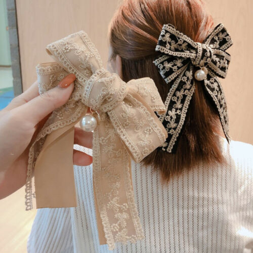 Details about  /Big Bow Hairpin Spring Clip Hair Clips Lace Women/'s Ponytail Hair Accessories