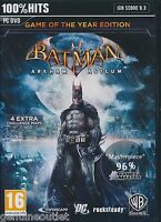 Batman Arkham Asylum Goty Pc Game Of The Year Edition For Pc Brand Sealed