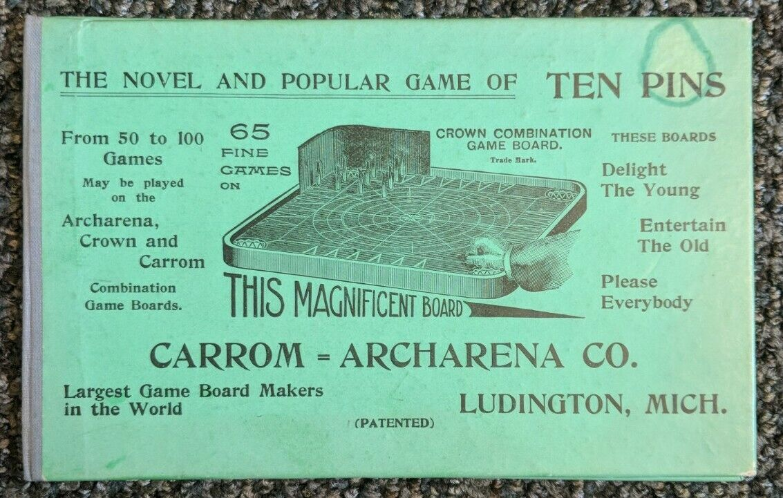 Image 1 - Antique-Carrom-Archarena-1908-Ten-Pin-board-Game-Instructions-Ludington-MI