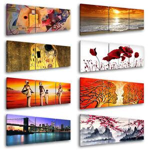 quadri moderni 3 pz cm 150x50 stampa su tela arredamento