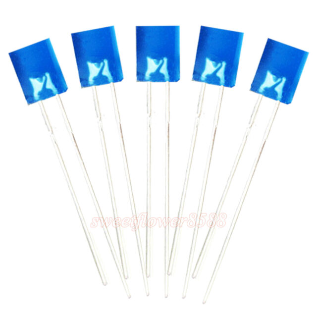 50pcs 2x5x7mm Blue Diffused Led Rectangle Rectangular Light LED Lamp Bulb New