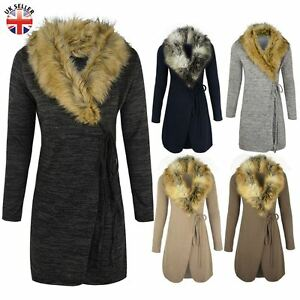 WOMENS LADIES FUR COLLAR CARDIGAN JACKET KNITTED SWEATER COAT WRAP ...