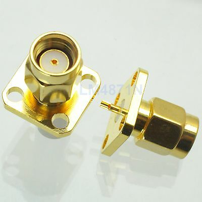 1pce Connector RP.SMA male jack 4-hole 12.7mm flange solder panel mount straight