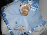 Baby Starters Plush Rattle Satin Blanket Tan Bear Blue Thank Heaven Little Boy