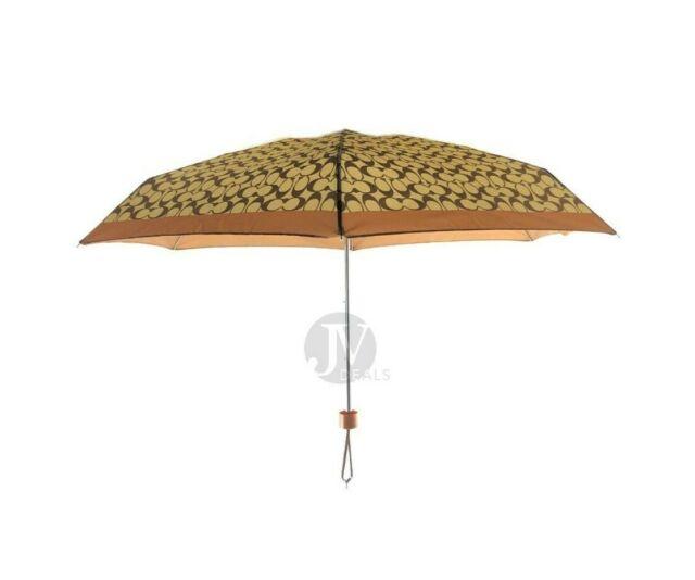 NWT COACH SIGNATURE UMBRELLA MINI KHAKI//SADDLE F63365 NWT $65