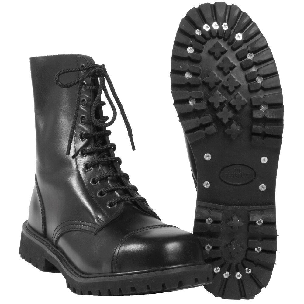 Mil-Tec - Invader 10 Loch Loch Loch Stiefel Stiefel Schwarz Stahlkappe Leder Schuhe Ranger 21b673