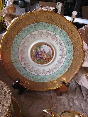 """Le Mieux China 24 KT Gold,  Hand Painted Round Platter 12"""""""