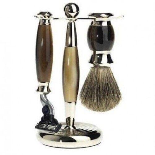 Perma Brands 3 Pc braun Shaving Set Horn with Brush and Mach 3 Razor