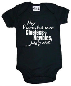 Dirty-Fingers-034-My-Parents-are-Clueless-Newbies-Help-me-034-Bodysuit-New-Parent-Gift