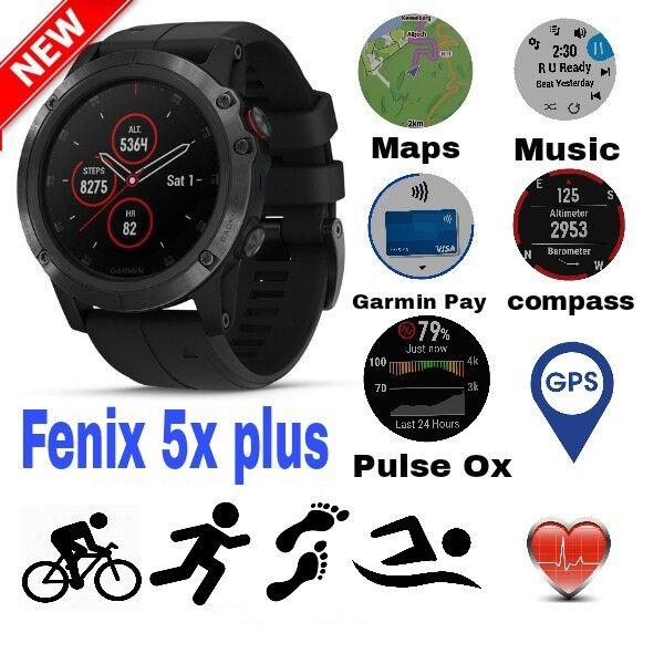 Garmin Fenix 5x Plus Sapphire Black Gps Sport Wrist Hr Watch 51mm