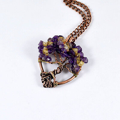 Valentine's Day Gift Amethyst Citrine Heart Tree Of Life Necklace Copper Brass