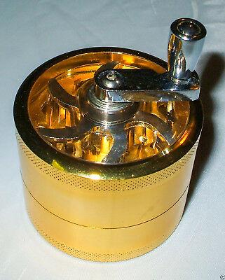 4 Teilig Kurbel Grinder Alu Gewürzmühle Kräutermühle Feinsieb Farbig 40mm
