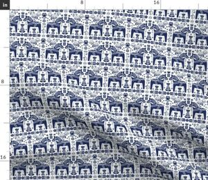 Dala-Horse-Navy-Blue-White-Scandinavian-Folk-Fabric-Printed-by-Spoonflower-BTY