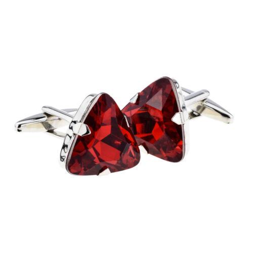 Ruby Red Triangular Acrylic Crystal Cufflinks in a Cufflink Box X2AJA1006