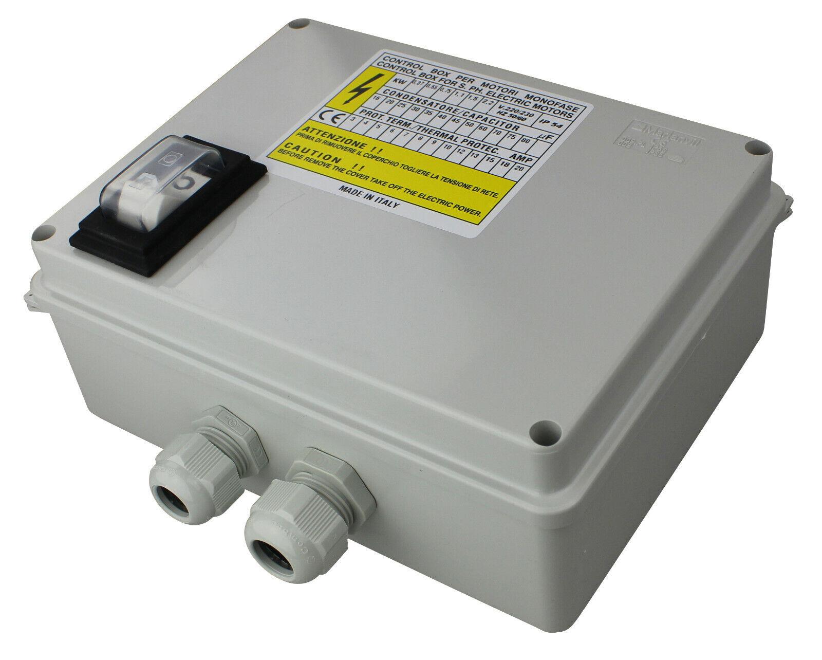 Caja Control 80μF,18A,2,2KW,230V con Projoección Del Motor, Condensador Y