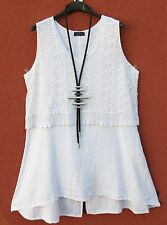 Sarah SANTOS Tunica Lunga Lino Linen Dress Tunic robe XL 48 50 Lagenlook