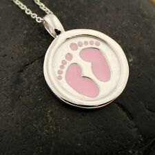 sterling silver baby girl Footsteps Necklace Pendant charm with 925 chain N-24